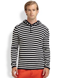 Vince - Cotton Striped Hooded Henley