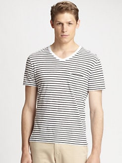 Vince - Cotton & Linen Striped V-Neck Shirt