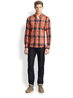 Vince - Cotton Plaid Button-Down Shirt