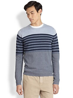 Vince - Striped Crewneck Cardigan