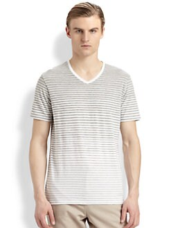 Vince - Striped V-Neck Tee