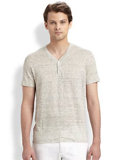 Vince - Linen V-Neck Henley