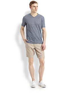 Vince - Linen Striped V-Neck Tee