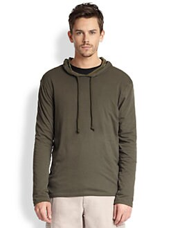 Vince - Hooded Long-Sleeved Cotton Jersey Tee