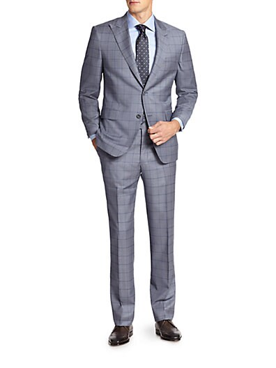 Samuelsohn Windowpane Wool Suit $576.97 AT vintagedancer.com
