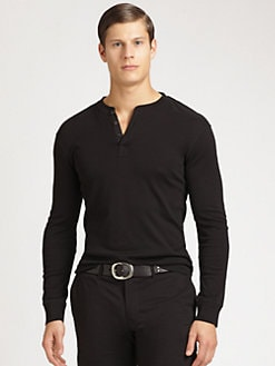 Ralph Lauren Black Label - Solid Ribbed-Knit Henley