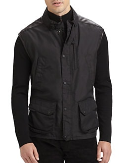 Ralph Lauren Black Label - Modern Leather-Trim Vest