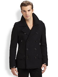 Ralph Lauren Black Label - Leather-Trimmed Modern Peacoat