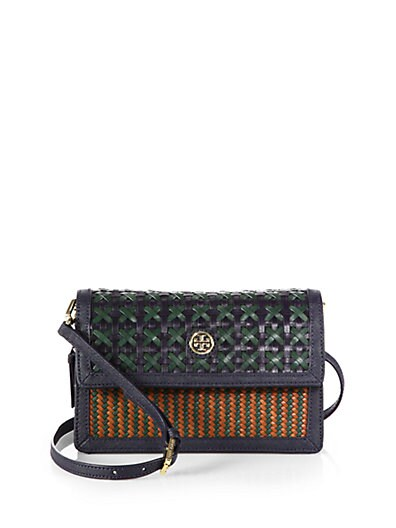 9d50aef08ad2 Tory Burch Robinson Woven Combo Crossbody Leather Bag