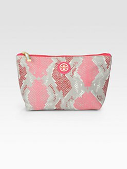 Tory Burch - Pop Snake-Print Coated Canvas Cosmetic Case