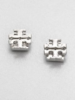 Tory Burch - Logo Stud Earrings/Silvertone