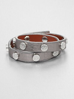 Tory Burch - Double Wrap Metallic Leather Bracelet/Silvertone