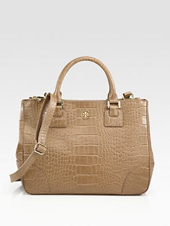 Tory Burch - Robinson Crocodile Embossed Leather Tote