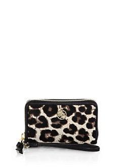 Tory Burch - Robinson Leopard-Print Calf Hair Smartphone Wristlet