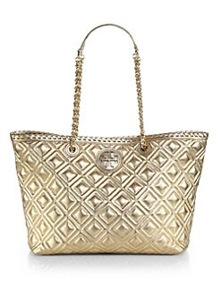 Tory Burch - Marion Quilted Metallic Small Tote
