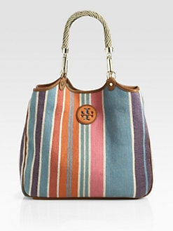 Tory Burch - Baja Channing Striped Canvas Tote