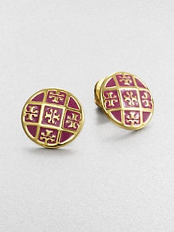 Tory Burch - Enamel Logo Pattern Stud Earrings