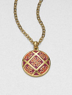 Tory Burch - Enamel Logo Pattern Pendant Necklace