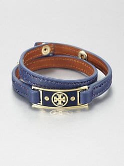 Tory Burch - Logo Plaque Double Wrap Leather Bracelet
