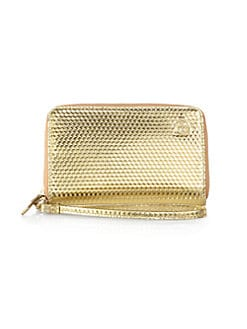 Tory Burch - Metallic Geometric-Embossed Leather Wristlet
