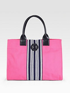 Tory Burch - Ella Center Stripe Canvas Tote