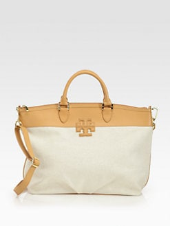 Tory Burch - Stacked Logo Canvas Satchel