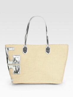 Tory Burch - Stacked T East/West Straw Tote