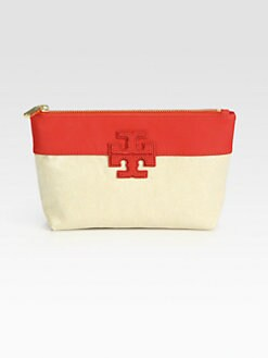 Tory Burch - Stacked Logo Mixed-Media Colorblock Cosmetic Case