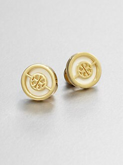 Tory Burch - Enamel Logo Stud Earrings