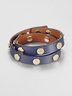 Tory Burch - Double Wrap Logo Studded Leather Bracelet