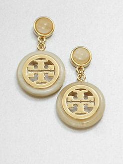 Tory Burch - Horn-Print Logo Drop Earrings