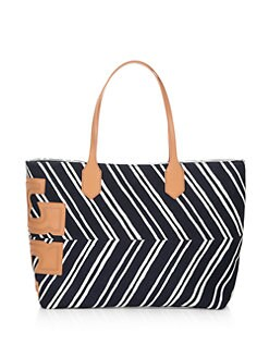 Tory Burch - Stacked T East/West Striped Tote