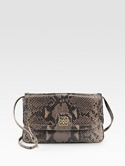 Tory Burch - Catalina Python-Embossed Leather Envelope Clutch