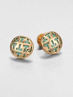Tory Burch - Goldplated Patterned Button Earrings