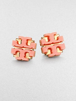 Tory Burch - Enamel Large Logo Stud Earrings