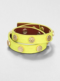 Tory Burch - Snake Embossed Leather & Stud Bracelet