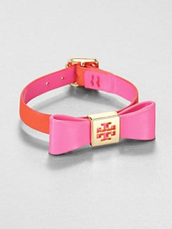 Tory Burch - Leather & Goldplated Bow Bracelet