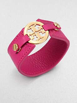 Tory Burch - Logo Snap Leather Bracelet