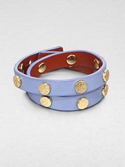Tory Burch - Double Logo-Studded Leather Wrap Bracelet