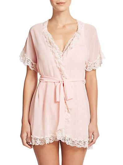 Lace-Trim Chiffon Wrap Robe $39.92 AT vintagedancer.com