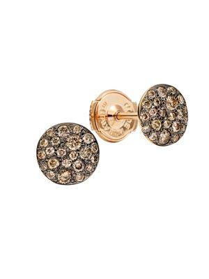 Sabbia Brown Diamond & 18K Rose Gold Stud Earrings