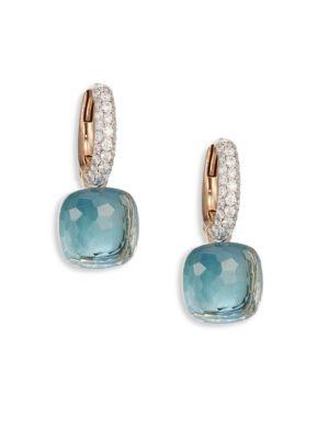 POMELLATO Nudo Blue Topaz, Diamond & 18K Rose Gold Leverback Earrings