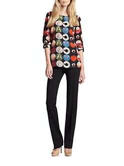 Akris Punto - Silk Record-Print Blouse