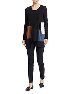 Akris Punto - Wool Colorblock Cropped Cardigan