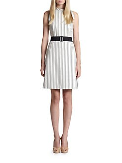 Akris Punto - Pinstripe Belted Dress