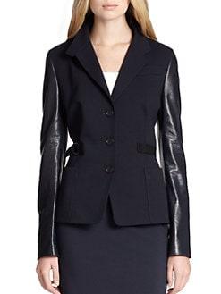 Akris Punto - Jersey & Perforated Leather Jacket