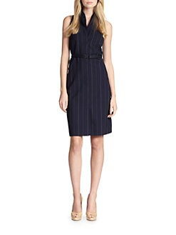 Akris Punto - Pinstripe Belted Double-Collar Dress