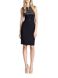 Akris Punto - Striped Panel Belted Techno Dress
