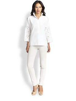 Akris Punto - Embroidered-Sleeve Cotton Poplin Blouse