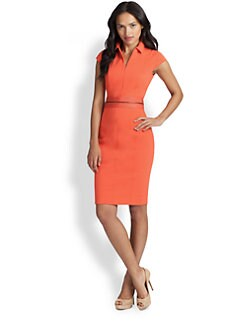 Akris Punto - Cap-Sleeve Belted Jersey Dress